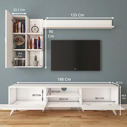 Rani A9-299 Duvar Raflı Kitaplıklı Tv Ünitesi - Beyaz
