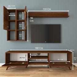 Rani A9 M35 Duvar Raflı Kitaplıklı Tv Ünitesi - Ceviz