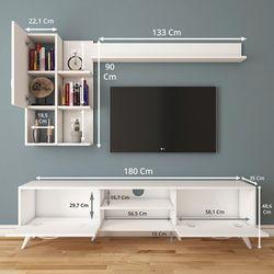 Rani A9-293 Duvar Raflı Kitaplıklı Tv Ünitesi - Beyaz