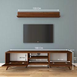 Rani A9 M30 Duvar Raflı Kitaplıklı Tv Ünitesi - Ceviz