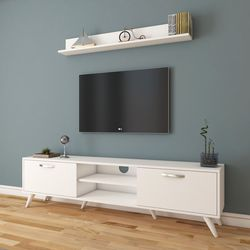 Rani A9-289 Duvar Raflı Kitaplıklı Tv Ünitesi - Beyaz