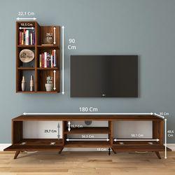 Rani A9 M29 Duvar Raflı Kitaplıklı Tv Ünitesi - Ceviz