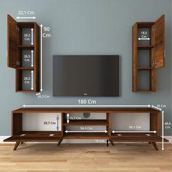 Rani A9 M28 Duvar Raflı Kitaplıklı Tv Ünitesi - Ceviz