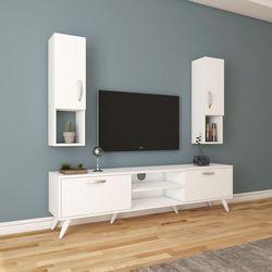 Rani A9-285 Duvar Raflı Kitaplıklı Tv Ünitesi - Beyaz