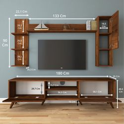 Rani A9 M25 Duvar Raflı Kitaplıklı Tv Ünitesi - Ceviz