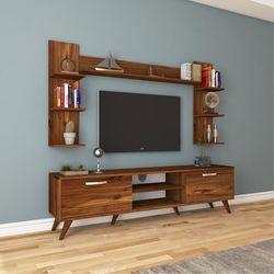 Rani A9 M23 Duvar Raflı Kitaplıklı Tv Ünitesi - Ceviz