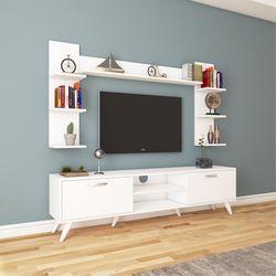 Rani A9-275 Duvar Raflı Kitaplıklı Tv Ünitesi - Beyaz