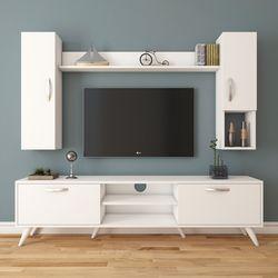 Rani A9-273 Duvar Raflı Kitaplıklı Tv Ünitesi - Beyaz