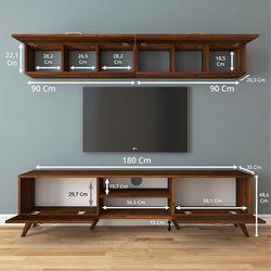 Rani A9 M19 Duvar Raflı Kitaplıklı Tv Ünitesi - Ceviz