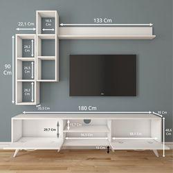 Rani A9-261 Duvar Raflı Kitaplıklı Tv Ünitesi - Beyaz