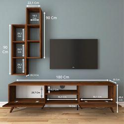 Rani A9 M15 Duvar Raflı Kitaplıklı Tv Ünitesi - Ceviz
