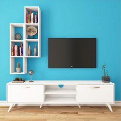 Rani A9-259 Duvar Raflı Kitaplıklı Tv Ünitesi - Beyaz