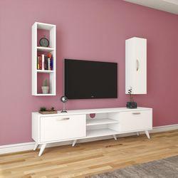 Rani A9-249 Duvar Raflı Kitaplıklı Tv Ünitesi - Beyaz