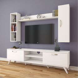 Rani A9-247 Duvar Raflı Kitaplıklı Tv Ünitesi - Beyaz