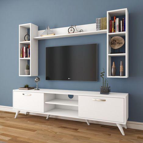 Resim  Rani A9-239 Duvar Raflı Kitaplıklı Tv Ünitesi - Beyaz