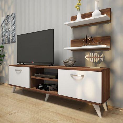 Rani A7 Duvar Raflı Kitaplıklı Tv Ünitesi - Ceviz / Beyaz