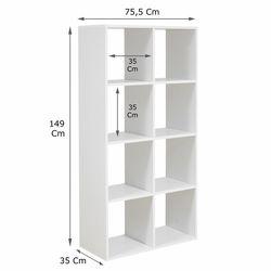 Rani M3 8 Raflı Modern Küp Kitaplık Raf Ünitesi - Beyaz