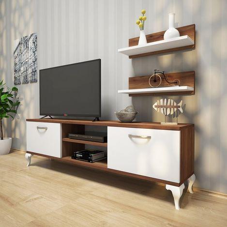 Resim  Rani A4 Duvar Raflı Kitaplıklı Tv Ünitesi - Ceviz / Beyaz