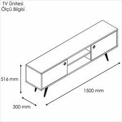 Rani A6 Ahşap Ayaklı Dolaplı Tv Sehpası - Beyaz / Ceviz
