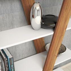 Rani X1 4 Raflı Dekoratif Kitaplık / Modern Duvar Rafı - Beyaz / Ceviz