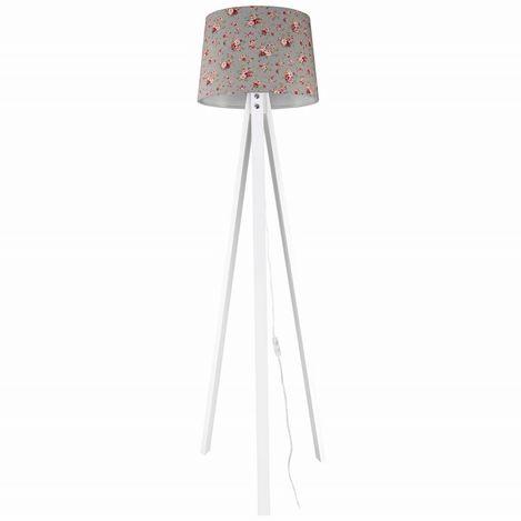 Modelight Deko Yasemin Çiçek Desenli Lambader - Gri / Beyaz / Kahve