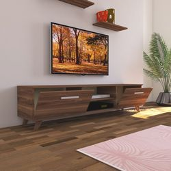 Nur Mobilya Tv Sehpalı 180 cm 2'li Salon Takımı - Ceviz