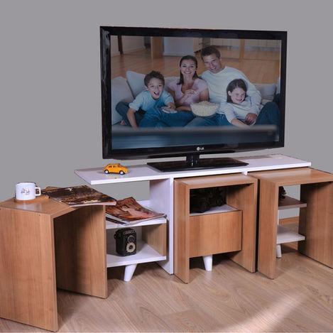 Resim  Ofisbazaar Best Zigon Sehpalı Tv Ünitesi - Amerikan Kiraz/Beyaz