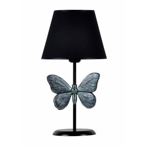Resim  Qdec Modern Dizayn Kelebek Abajur - Zümrüt / Siyah