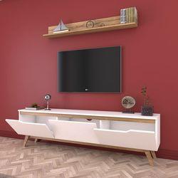 Rani D1 M30 Duvar Raflı Ahşap Ayaklı Tv Ünitesi - Ceviz / Beyaz