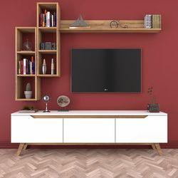 Rani D1 M16 Duvar Raflı Kitaplıklı Ahşap Ayaklı Tv Ünitesi - Ceviz / Beyaz