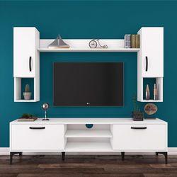 Rani A10 M27 Duvar Raflı Kitaplıklı Metal Ayaklı Tv Ünitesi - Beyaz