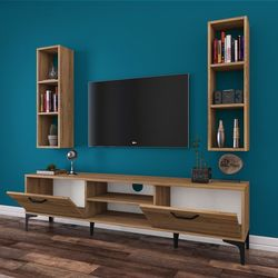 Rani A10 M6 Duvar Raflı Kitaplıklı Metal Ayaklı Tv Ünitesi - Ceviz