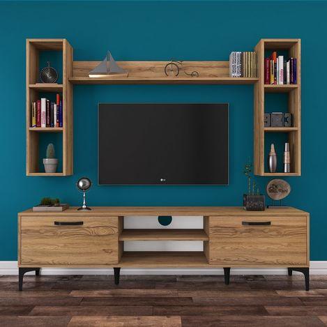Resim  Rani A10 M5 Duvar Raflı Kitaplıklı Metal Ayaklı Tv Ünitesi - Ceviz