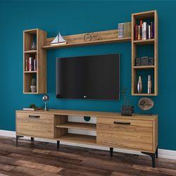 Rani A10 M5 Duvar Raflı Kitaplıklı Metal Ayaklı Tv Ünitesi - Ceviz