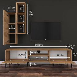 Rani A10 M1 Duvar Raflı Kitaplıklı Metal Ayaklı Tv Ünitesi - Ceviz