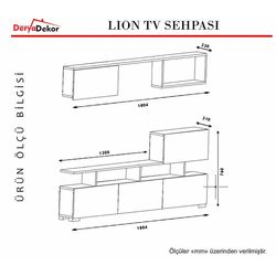 Derya Dekor Lion TV Sehpası - Beyaz/Ceviz