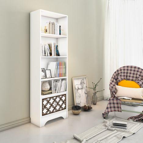 Eyibil Mobilya Modern Cnc İşlemeli Kitaplık - Beyaz / Ceviz
