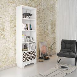 Eyibil Mobilya Modern Cnc İşlemeli Kitaplık - Beyaz /Ceviz