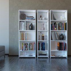 Eyibil Mobilya Linda 3' lü Modern Arkalıklı Kitaplık - Beyaz