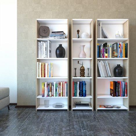 Resim  Eyibil Mobilya Linda 3'lü Modern Arkalıklı Kitaplık - Meşe / Beyaz