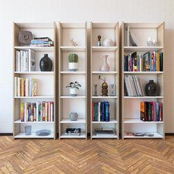 Eyibil Mobilya Linda 4'lü Modern Arkalıklı Kitaplık - Meşe / Beyaz