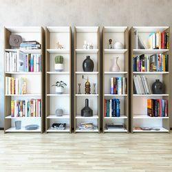 Eyibil Mobilya Linda 5'li Modern Arkalıklı Kitaplık - Ceviz / Beyaz