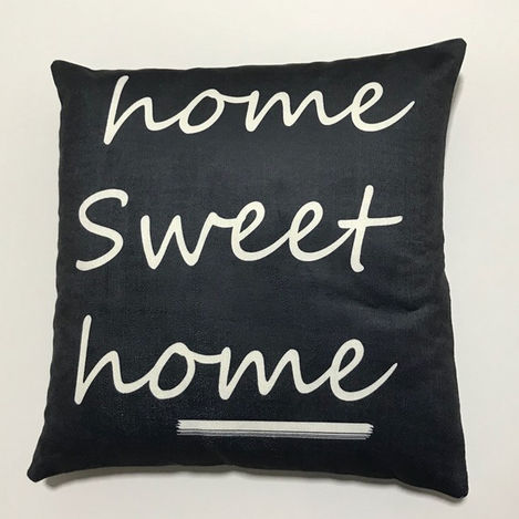 Resim  Nevresim Dünyası 3D Home Sweet Kırlent Kılıfı (Siyah) - 43x43 cm
