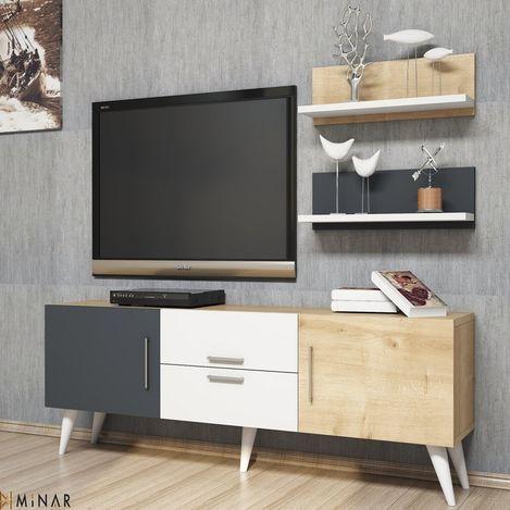 Resim  House Line Only Tv Ünitesi - Beyaz/Safir/Antrasit