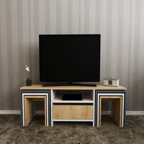 House Line Zygo Zigonlu Tv Ünitesi - Beyaz/Safir/Antrasit