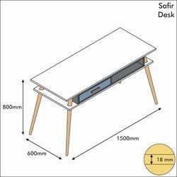 House Line Safir Çalışma Masası - Beyaz/Antrasit/Kalsedon