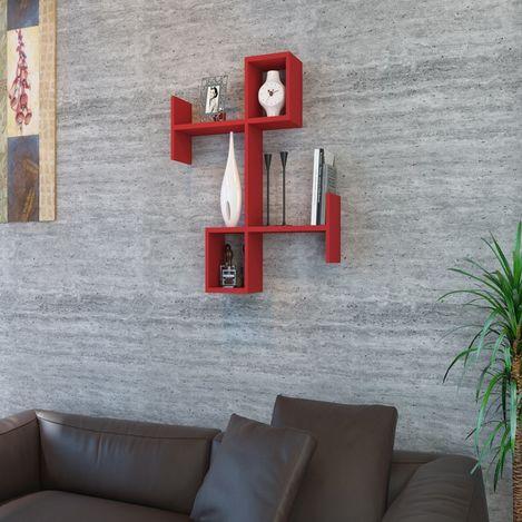 Resim  House Line Burç Duvar Rafı - Kırmızı
