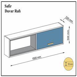 House Line Safir Duvar Rafı - Beyaz/Antrasit/Kalsedon