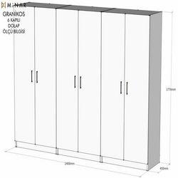 House Line Granikos 6 Kapaklı 3 Çekmeceli 1 Gözlü Ask 5 Raflı Dolap - Beyaz