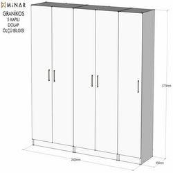 House Line Granikos 5 Kapaklı 5 Raflı 3 Çekmeceli 1 Gözlü Askılı Dolap - Beyaz